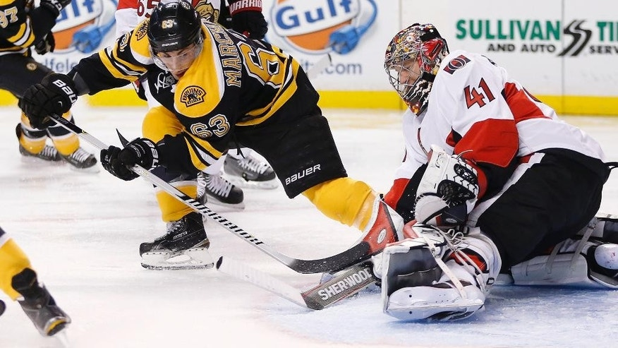 Ottawa Senators goalie Craig Anderson (41) blocks a shot by Boston Bruins' Brad Marchand (63) during the second period of an NHL hockey game in Boston, Saturday, Jan. 3, 2015. (AP Photo/Michael Dwyer)