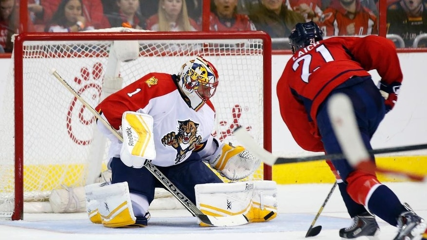 Washington Capitals center Brooks Laich (21) prepares to score a goal past Florida Panthers goalie Roberto Luongo (1) in the second period of an NHL hockey game, Sunday, Jan. 4, 2015, in Washington. (AP Photo/Alex Brandon)
