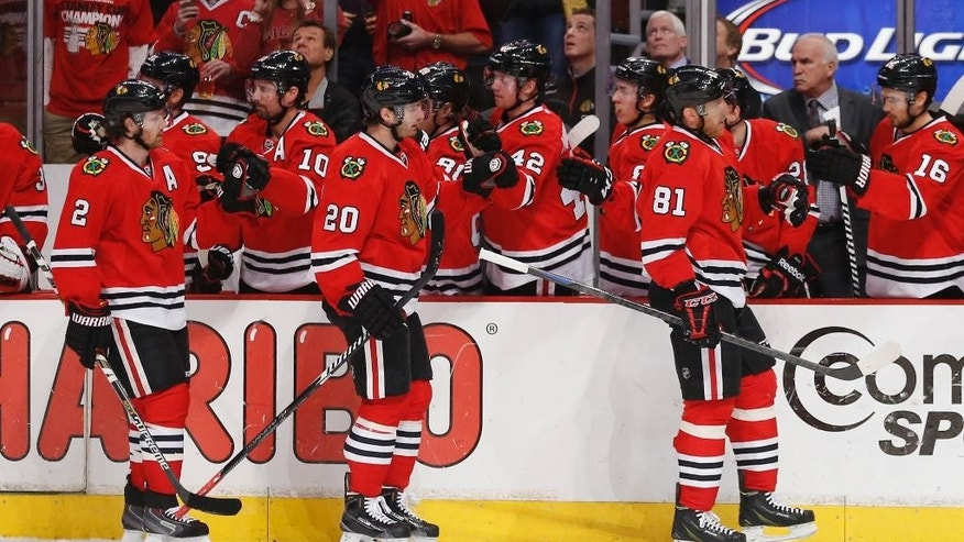 Chicago Blackhawks left wing Brandon Saad (20) celebrates with teammates a goal scored against the Dallas Stars during the first period of an NHL hockey game in Chicago, Sunday, Jan. 4, 2015. (AP Photo/Kamil Krzaczynski)