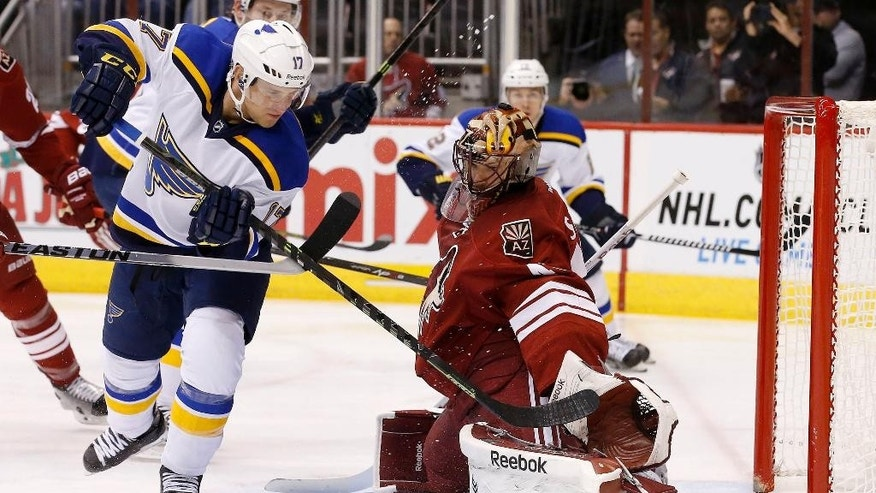 Arizona Coyotes' Mike Smith, right, makes a save on a shot by St. Louis Blues' Jaden Schwartz (17) during the first period of an NHL hockey game Tuesday, Jan. 6, 2015, in Glendale, Ariz. (AP Photo/Ross D. Franklin)