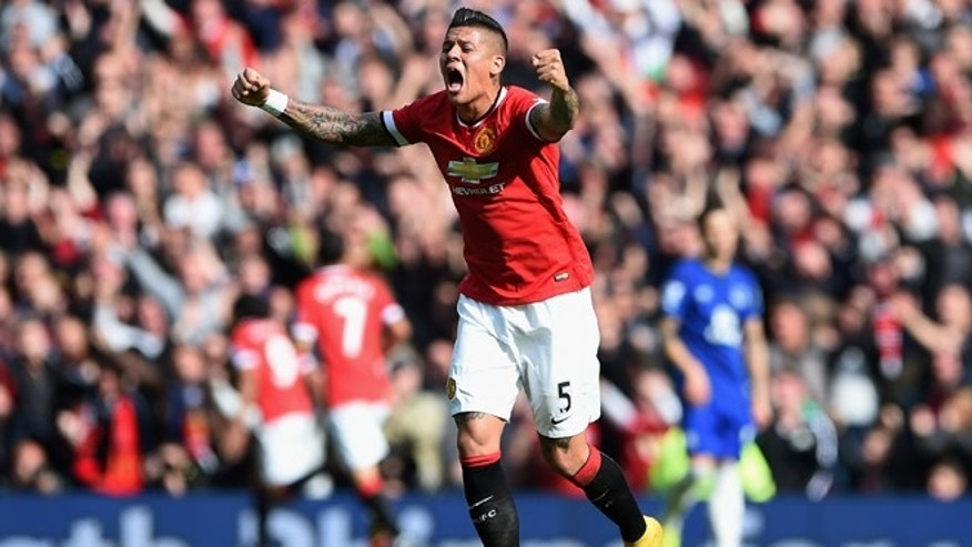 Marcos Rojo of Manchester United celebrates on October 5, 2014 in Manchester, England.