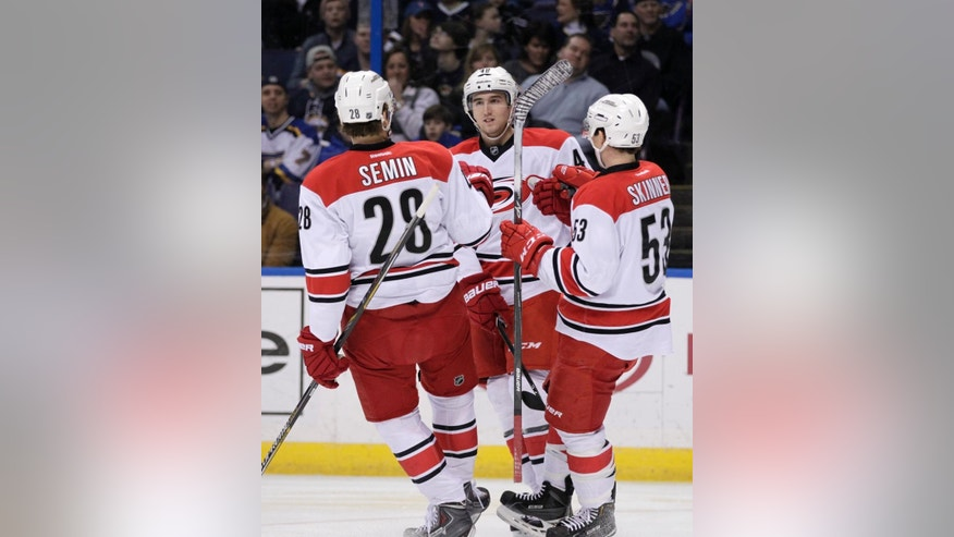 Carolina Hurricanes' Victor Rask (49) celebrates with teammates John-Michael Liles (26) and Jeff Skinner (53) after scoring a goal in the first period of an NHL hockey game against the St. Louis Blues, Saturday, Jan. 10, 2015 in St. Louis. (AP Photo/Tom Gannam)