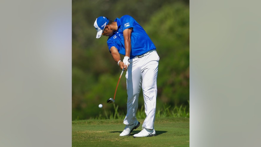 Hideki Matsuyama, of Japan, drives on the fourth tee during the final round of the Tournament of Champions golf tournament Monday, Jan. 12, 2015, in Kapalua, Hawaii.  (AP Photo/Marco Garcia)