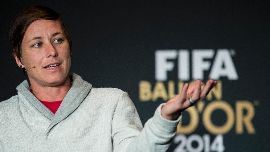 Abby Wambach of the United States, one of the nominees for the FIFA Women's World Player of the Year, attends a press conference prior to the FIFA Ballon d'Or awarding ceremony at the Kongresshaus in Zurich, Switzerland, Monday, Jan. 12, 2015. (AP Photo/Keystone, Ennio Leanza)