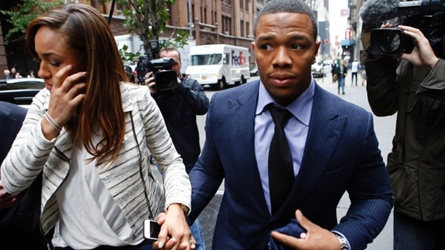Nov. 5, 2014: Ray Rice arrives with his wife Janay for an appeal hearing of his indefinite suspension from the NFL in New York.