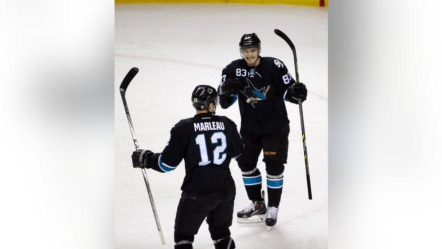 San Jose Sharks' Patrick Marleau (12) celebrates his goal with teammate Matt Nieto (83) during the first period of an NHL hockey game against the Toronto Maple Leafs on Thursday, Jan. 15, 2015, in San Jose, Calif. (AP Photo/Marcio Jose Sanchez)