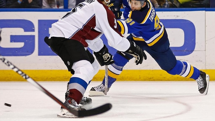 St. Louis Blues' Vladimir Tarasenko, right, of Russia, takes a shot on goal as he is defended by Colorado Avalanche's Nate Guenin during the first period of an NHL hockey game Monday, Jan. 19, 2015, in St. Louis.  (AP Photo/Billy Hurst)
