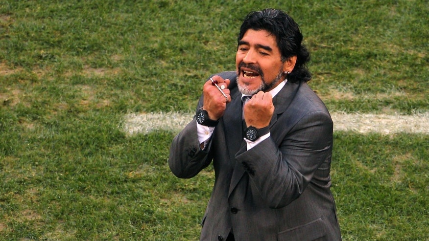 CAPE TOWN, SOUTH AFRICA - JULY 03:  Diego Maradona head coach of Argentina gestures in frustration on the touchline during the 2010 FIFA World Cup South Africa Quarter Final match between Argentina and Germany at Green Point Stadium on July 3, 2010 in Cape Town, South Africa.  (Photo by Clive Rose/Getty Images)