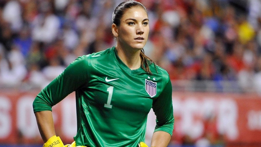 Oct. 20, 2013: United States goalkeeper Hope Solo pauses on the field during the second half of an international friendly women's soccer match against Australia in San Antonio.