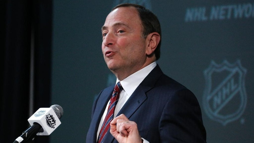 NHL Commissioner Gary Bettman  announces the return of the World Cup of Hockey in 2016 during an hockey press conference at Nationwide Arena Saaturday, Jan. 24, 2015, in Columbus, Ohio. The World Cup tournament will include eight teams and will be played in Toronto next September, before the beginning of NHL training camps. (AP Photo/Gene J. Puskar)