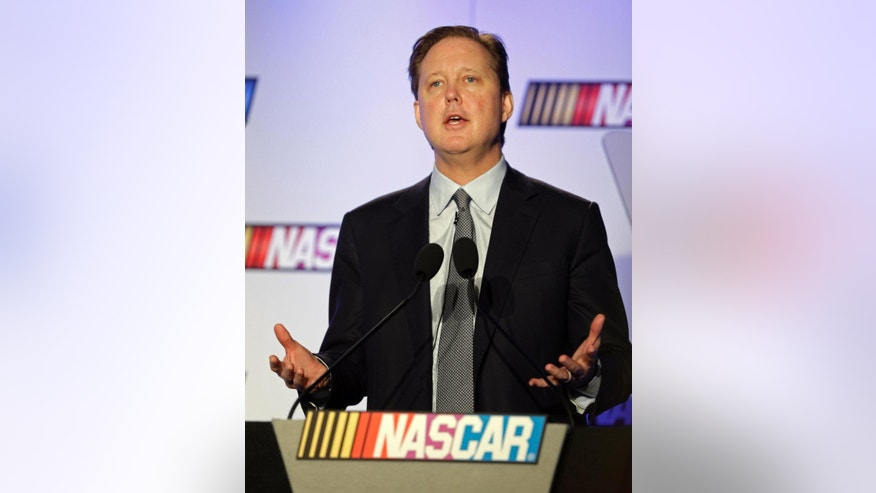 NASCAR CEO Brian France speaks to the media during the NASCAR Media Tour in Charlotte, N.C., Monday, Jan. 26, 2015. (AP Photo/Chuck Burton)
