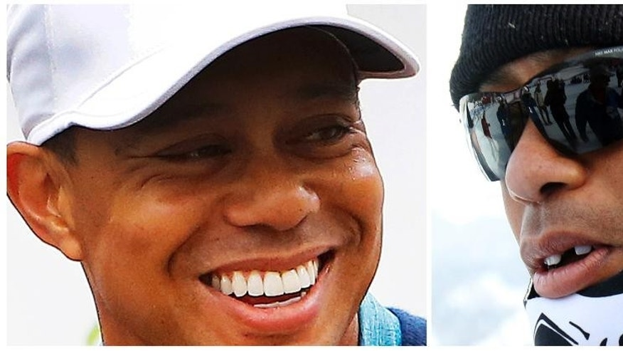In this combo of photos, Tiger Woods, left, smiles as he talks to the media after playing a practice round prior to the Phoenix Open golf tournament on Tuesday, Jan. 27, 2015, in Scottsdale, Ariz. In this Jan. 19, 2015, file photo, Tiger Woods, right, missing a front tooth, walks in the finish area where his girlfriend Lindsey Vonn won the women's World Cup super-G ski race in Cortina d'Ampezzo, Italy. (AP Photo/Rick Scuteri, left, and Armando Trovati)