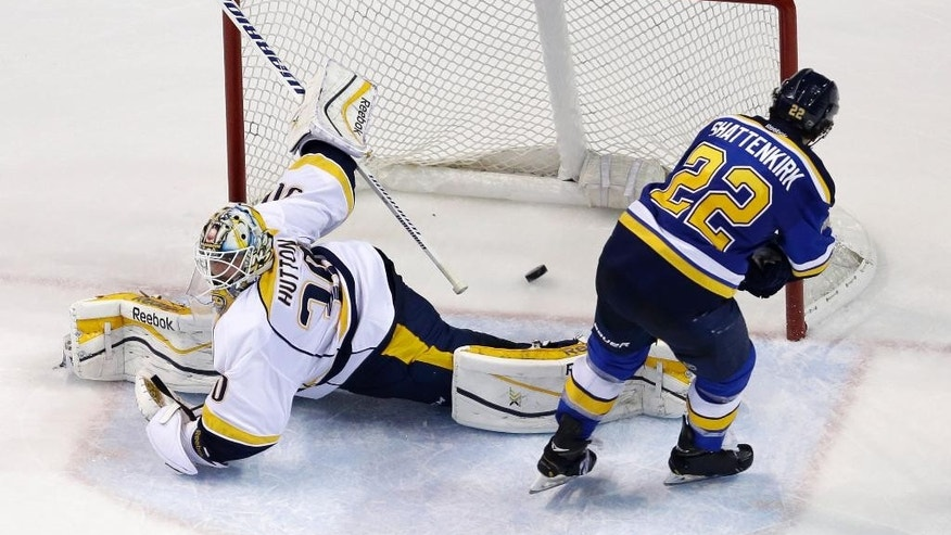 St. Louis Blues' Kevin Shattenkirk, right, scores past Nashville Predators goalie Carter Hutton during a shootout of an NHL hockey game Thursday, Jan. 29, 2015, in St. Louis. The Blues won 5-4 in a shootout.(AP Photo/Jeff Roberson)