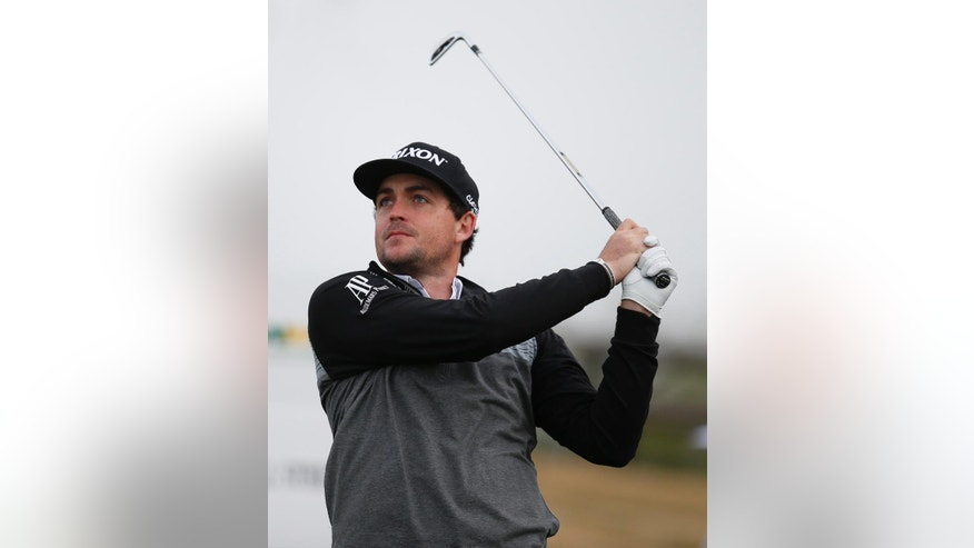 Keegan Bradley tees off on the 12th hole during the first round of the Phoenix Open golf tournament, Thursday, Jan. 29, 2015, in Scottsdale, Ariz. (AP Photo/Rick Scuteri)