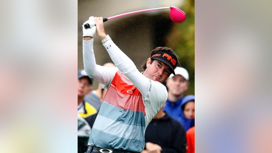Bubba Watson tees off on the fifth hole during the second round of the Phoenix Open golf tournament, Friday, Jan. 30, 2015, in Scottsdale, Ariz. (AP Photo/Rick Scuteri)