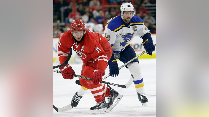 Carolina Hurricanes' Jordan Staal (11) and St. Louis Blues' David Backes (42) watch the puck during the first period of an NHL hockey game in Raleigh, N.C., Friday, Jan. 30, 2015. (AP Photo/Gerry Broome)