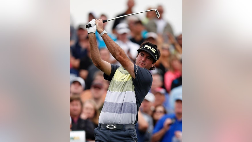Bubba Watson tees off on the 12th hole during the first round of the Phoenix Open golf tournament, Thursday, Jan. 29, 2015, in Scottsdale, Ariz. (AP Photo/Rick Scuteri)