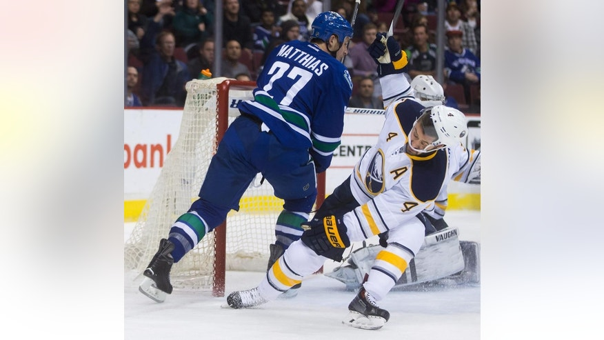Vancouver Canucks' Shawn Matthias, left, and Buffalo Sabres' Josh Gorges collide during the first period of an NHL hockey game Friday, Jan. 30, 2015, in Vancouver, British Columbia. (AP Photo/The Canadian Press, Darryl Dyck)