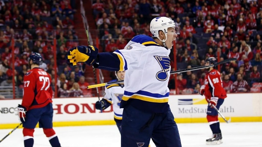 St. Louis Blues right wing Dmitrij Jaskin (23), from Russia, celebrates his goal in the second period of an NHL hockey game against the Washington Capitals, Sunday, Feb. 1, 2015, in Washington. (AP Photo/Alex Brandon)