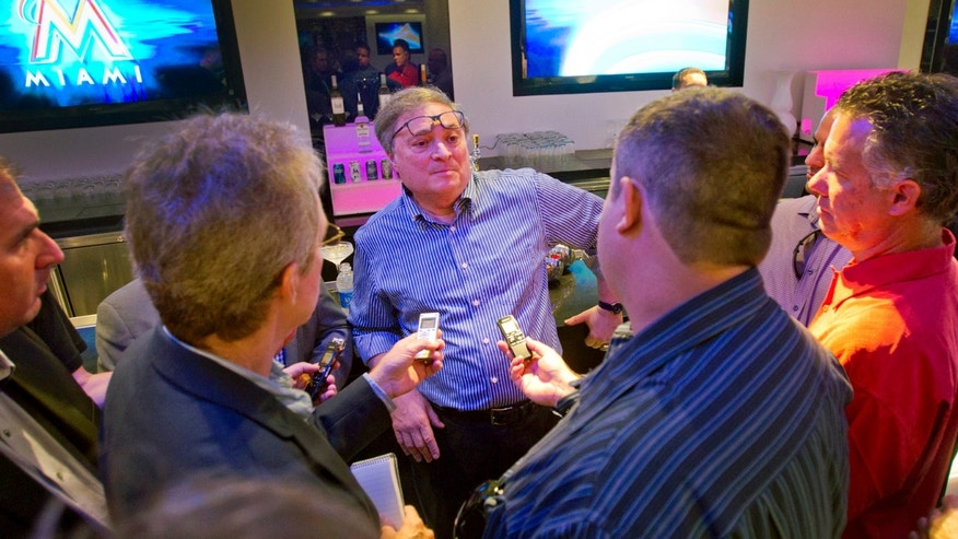 Miami Marlins owner Jeffrey Loria speaks to reporters, Monday, Feb. 25, 2013, in the Diamond Club at Marlins Park in Miami. Loria discussed the off-season payroll purge that made his team a baseball punch line around the country and even in South Florida. (AP Photo/The Miami Herald, Patrick Farrell)  MAGS OUT
