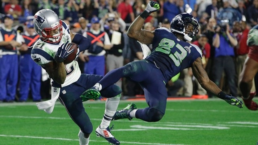 Feb. 1, 2015: New England Patriots strong safety Malcolm Butler (21) intercepts a pass intended for Seattle Seahawks wide receiver Ricardo Lockette (83) during the second half of Super Bowl XLIX in Glendale, Ariz. (AP Photo/Kathy Willens)