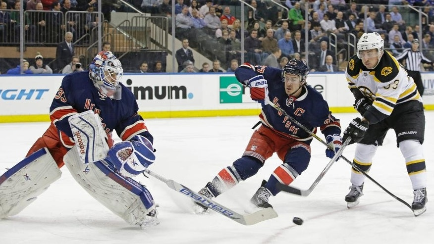 Boston Bruins left wing Brad Marchand (63) takes a shot as New York Rangers defenseman Ryan McDonagh (27) and New York Rangers goalie Cam Talbot (33) defends the crease in the first period of an NHL hockey game at Madison Square Garden in New York, Wednesday, Feb. 4, 2015. (AP Photo/Kathy Willens)