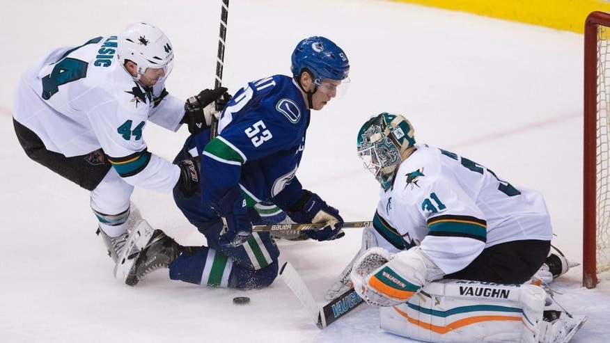 San Jose Sharks defenseman Marc-Edouard Vlasic (44) tries to stop Vancouver Canucks center Bo Horvat (53) from getting a shot on Sharks goalie Antti Niemi (31) during the second period of an NHL hockey game Thursday, Feb. 5, 2015, in Vancouver, British Columbia. (AP Photo/The Canadian Press, Jonathan Hayward)