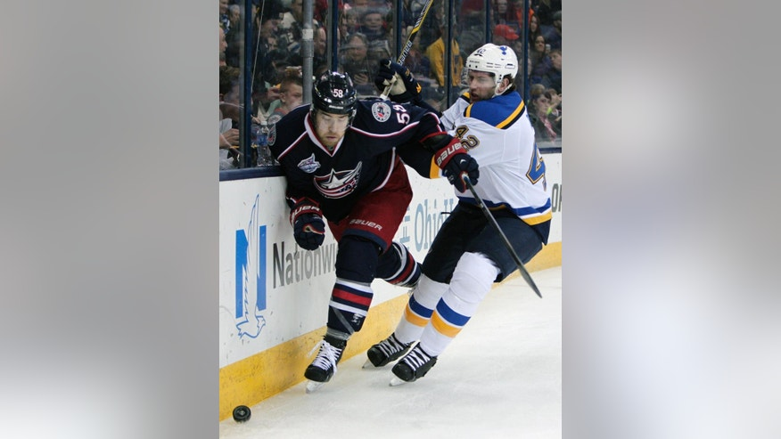 St. Louis Blues' David Backes, right, checks  Columbus Blue Jackets' David Savard during the first period of an NHL hockey game Friday, Feb. 6, 2015, in Columbus, Ohio. (AP Photo/Jay LaPrete)