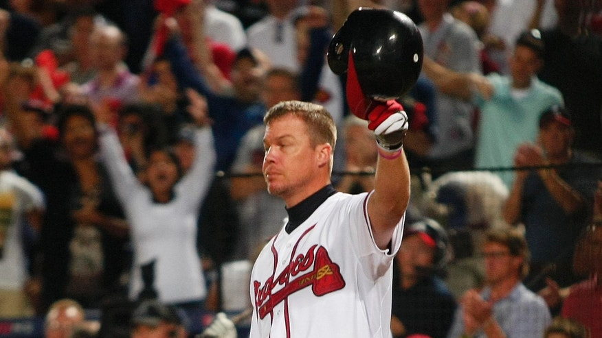 Oct. 5, 2012: Atlanta Braves batter Chipper Jones acknowledges the crowd at his final at bat as a player in the ninth inning of their MLB National League Wild Card playoff baseball game against the St. Louis Cardinals.