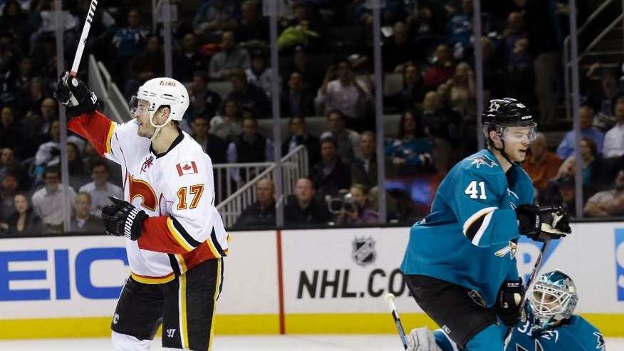 Calgary Flames' Lance Bouma (17) celebrates his goal San Jose Sharks during the second period of an NHL hockey game Monday, Feb. 9, 2015, in San Jose, Calif. (AP Photo/Marcio Jose Sanchez)