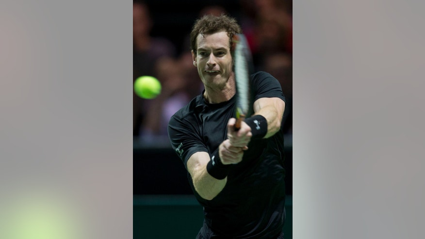 Britain's Andy Murray returns the ball to Nicolas Mahut of France during their first round match of the 42nd ABN AMRO world tennis tournament at Ahoy Arena in Rotterdam, Netherlands, Wednesday, Feb. 11, 2015. (AP Photo/Peter Dejong)
