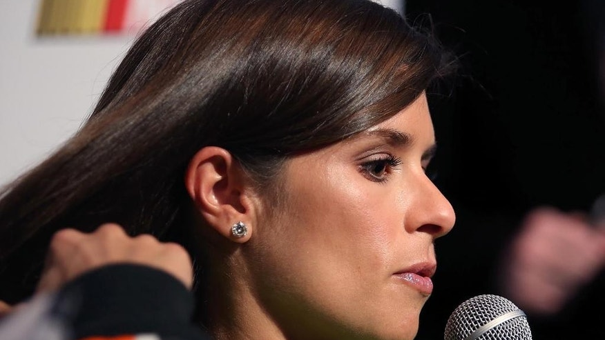 NASCAR auto racing driver Danica Patrick speaks to the media during NASCAR Media Day at Daytona International Speedway Thursday, Feb. 12,  2015, in Daytona Beach, Fla.  (AP Photo/Orlando Sentinel, Stephen M. Dowell) MAGS OUT; NO SALES