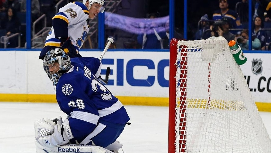 St. Louis Blues' Dmitrij Jaskin, of Russia, scores past Tampa Bay Lightning goalie Ben Bishop during the first period of an NHL hockey game Thursday, Feb. 12, 2015, in Tampa, Fla. (AP Photo/Mike Carlson)