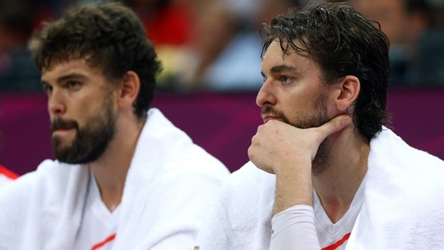 Marc Gasol and Pau Gasol on August 6, 2012  in London, England.