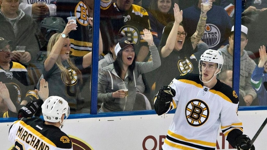 Boston Bruins' Brad Marchand (63) and Reilly Smith (18) celebrate a goal against the Edmonton Oilers during the second period of an NHL hockey game Wednesday, Feb. 18, 2015, in Edmonton, Alberta. (AP Photo/The Canadian Press, Jason Franson)