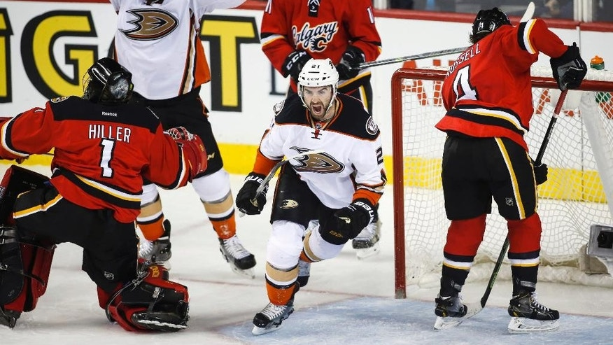 Anaheim Ducks' Kyle Palmieri, center, celebrates his goal while teammate Patrick Maroon, second from left, cheers and Calgary Flames goalie Jonas Hiller, left, from Switzerland, watches during the third period of an NHL hockey game Friday, Feb. 20, 2015, in Calgary, Alberta. (AP Photo/The Canadian Press, Jeff McIntosh)