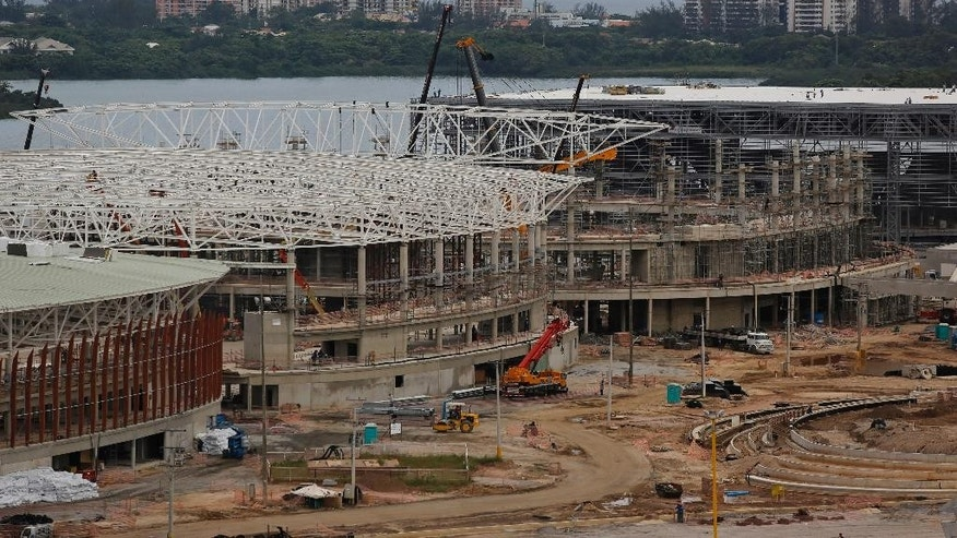A general view of the  Olympic Park which will host competitions during Rio's 2016 Olympics under construction in Rio de Janeiro, Brazil, Thursday, Feb 19, 2015. International Olympic Committee inspectors start a three-day tour Monday. (AP Photo/Leo Correa)