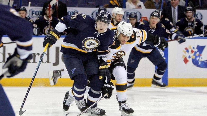 St. Louis Blues' Patrik Berglund, left, of Sweden, and Boston Bruins' Milan Lucic, right, vie for control of the puck during the first period of an NHL hockey game Friday, Feb. 20, 2015, in St. Louis. (AP Photo/Scott Kane)