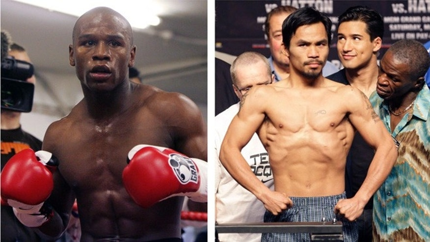 In this combination of file photos, Floyd Mayweather Jr., left, prepares to spar at a gym in east London on May 22, 2009, and Manny Pacquiao, right, of the Philippines, weighs in for the junior welterweight boxing match against British boxer Ricky Hatton, May 1, 2009, in Las Vegas. (AP)