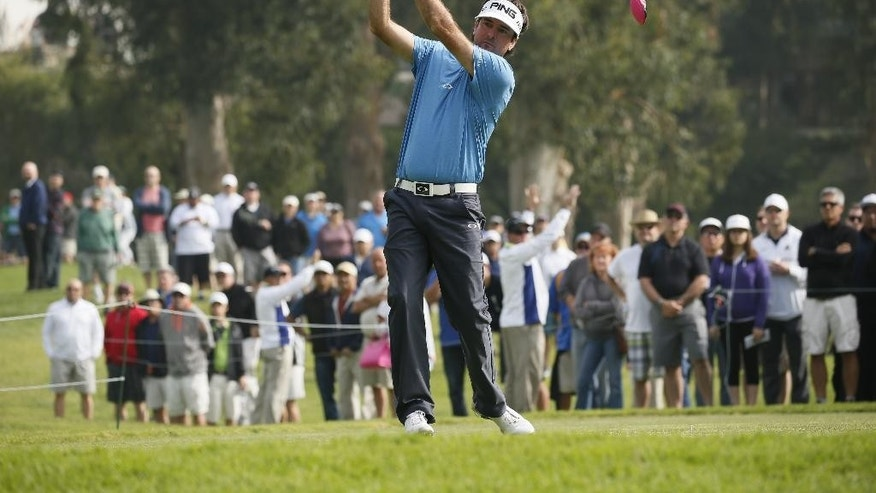 Bubba Watson tees off on the second hole during the second round of the Northern Trust Open golf tournament at Riviera Country Club in the Pacific Palisades area of Los Angeles on Friday, Feb. 20, 2015. (AP Photo/Danny Moloshok)