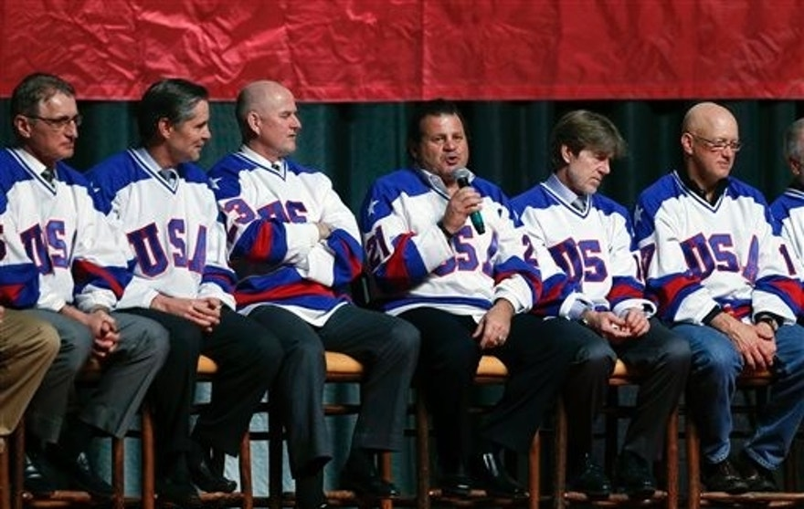"Mike Eruzione of the 1980 U.S. ice hockey team talks during a ""Relive the Miracle"" reunion at Herb Brooks Arena on Saturday, Feb. 21, 2015, in Lake Placid, N.Y. Thirty-five years after the team's stunning gold medal at the 1980 Lake Placid Winter Olympics,  the surviving members of the team came together at the hockey rink on Main Street they made famous with one of the most memorable upsets in sports history. (AP Photo/Mike Groll)"