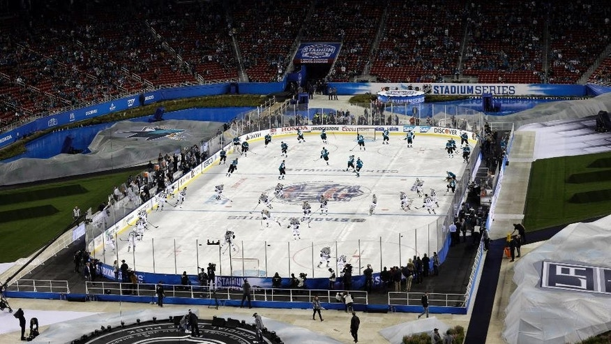 The Los Angeles Kings and San Jose Sharks warm up for an NHL hockey game Saturday, Feb. 21, 2015, in Santa Clara, Calif. (AP Photo/Marcio Jose Sanchez)