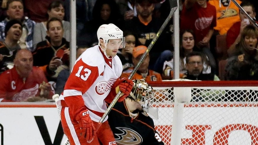 Detroit Red Wings center Pavel Datsyuk celebrates his second goal during the second period of an NHL hockey game in Anaheim, Calif., Monday, Feb. 23, 2015. (AP Photo/Chris Carlson)
