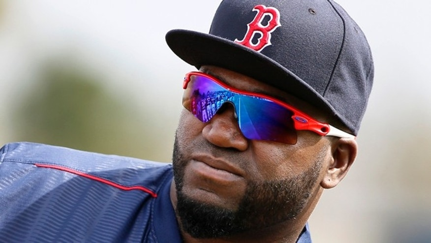 Boston Red Sox's David Ortiz at spring training in Fort Myers Fla., Wednesday Feb. 25, 2015.