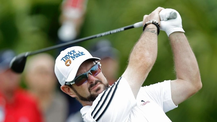 Rory Sabbatini, of South Africa, tees off during the first round of the Honda Classic golf tournament, Thursday, Feb. 26, 2015 in Palm Beach Gardens, Fla. (AP Photo/Luis M. Alvarez)
