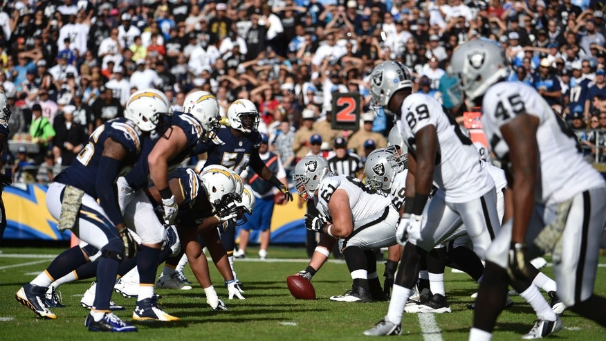 Nov. 16, 2014: The Oakland Raiders and San Diego Chargers face off against each other during the second half of an NFL football game in San Diego.