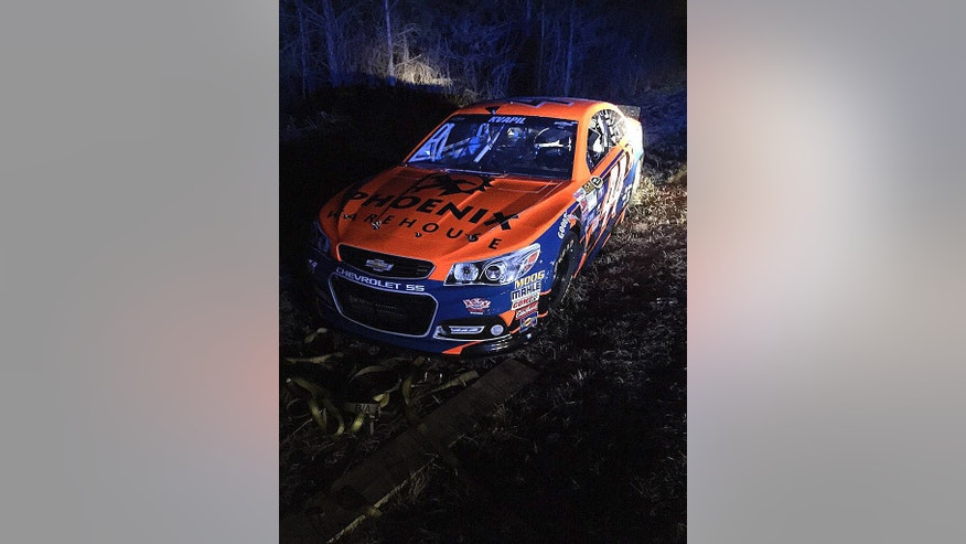 This photo released by Team Xtreme Racing shows their stolen race car after it was found in Snellville, Ga., Saturday, Feb. 28, 2015. The car was taken from a Morrow, Ga., motel Friday morning, Feb. 26, before the team's attempt to qualify for Sunday's NASCAR Sprint Cup Series auto race at Atlanta Motor Speedway. (AP Photo/Team Xtreme)