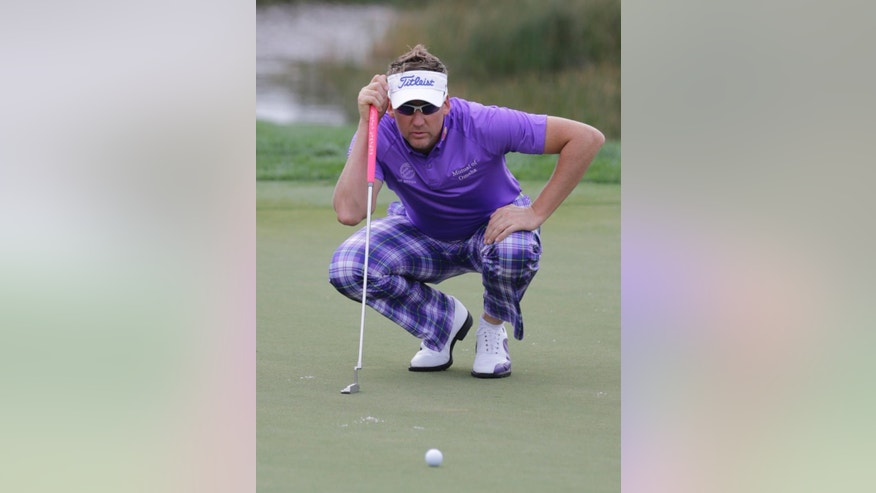 Ian Poulter looks at his line on the second green during the third round of the Honda Classic golf tournament, Sunday, March 1, 2015, in Palm Beach Gardens, Fla. (AP Photo/Luis M. Alvarez)