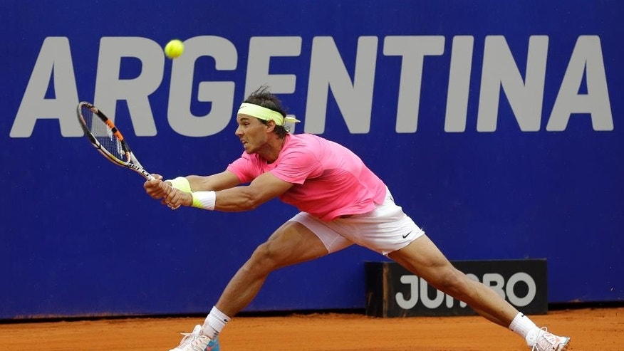 Rafael Nadal, of Spain, returns the ball to Juan Monaco of Argentina during their ATP Argentina Open final tennis match in Buenos Aires, Argentina, Sunday, March 1, 2015. Nadal defeated Monaco and won the open. (AP Photo/Victor R. Caivano)