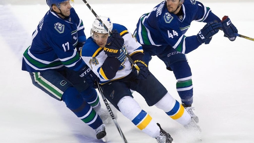 Vancouver Canucks' Radim Vrbata, left, of the Czech Republic, and Adam Clendening check St. Louis Blues' T.J. Oshie during the third period of an NHL hockey game in Vancouver, British Columbia, on Sunday March 1, 2015. (AP Photo/The Canadian Press,Darryl Dyck)